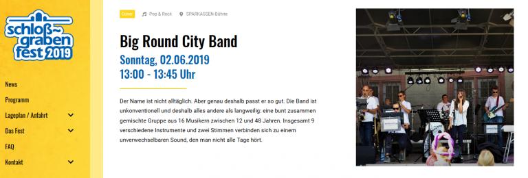 Eintrag BigRoundCityBand Web Site Schlossgrabenfest 2019